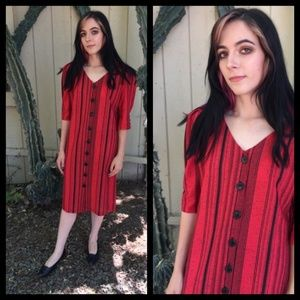 Gorgeous Vtg 80's red striped dress with buttons!